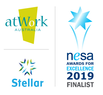 atWork Australia, Stellar and NESA Finalist logos